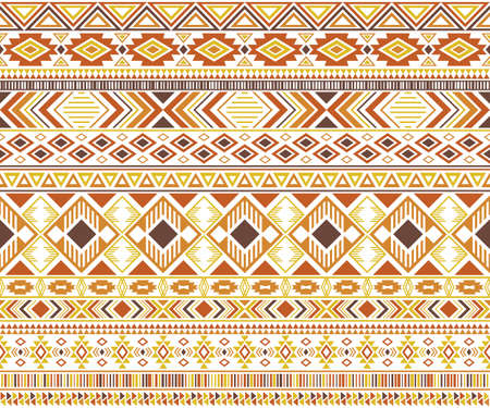Rhombus and triangle symbols tribal ethnic motifs geometric vector background. Abstract gypsy tribal motifs clothing fabric textile print traditional design with triangles Vettoriali