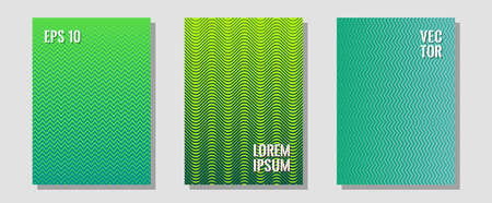 Cool flyers set, vector halftone poster backgrounds. Trendy magazines. Zigzag halftone lines wave stripes backdrops. Brand identity elements. Geometric lines shapes patterns set for flyer design.