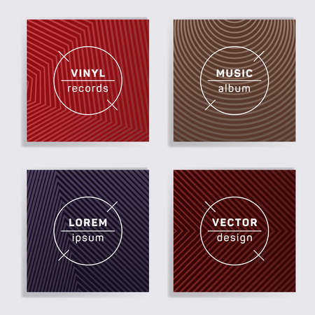 Gradient plate music album covers collection. Halftone lines backgrounds. Futuristic plate music records covers, vinyl album mockups. DJ records disc vector mockups. Flyer gradient patterns. Vettoriali