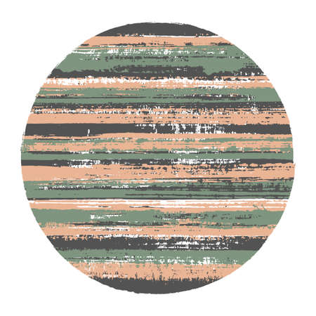 Vintage circle vector geometric shape with striped texture of ink horizontal lines. Old paint texture disc. Badge round shape circle  element with grunge background of stripes. Vettoriali