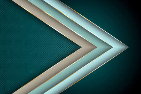 Polygonal arrow with gold triangle edge lines banner vector design. Glossy business background template. Futuristic cover graphic design. Gradient facets shapes, stripes gold edges lines vector. Vettoriali