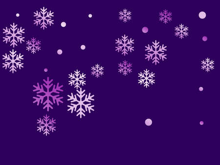 Crystal snowflake and circle elements vector graphics. Cool winter snow confetti scatter poster background. Falling colorful gradient snow flakes background, winter water crystals vector.