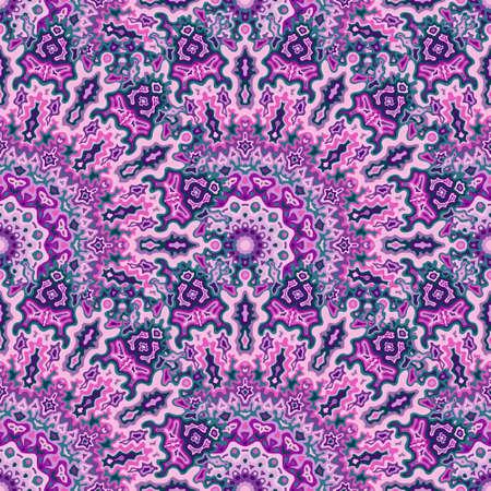 Kaleidoscope floral seamless ornament. Hindu folk vector graphic design. Tangle lollapalooza mandala geometric seamless pattern. Interior decoration print.