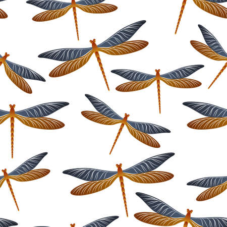 Dragonfly cartoon seamless pattern. Spring dress fabric print with flying adder insects. Isolated water dragonfly vector background. Wildlife beings seamless. Damselfly butterflies. 矢量图像