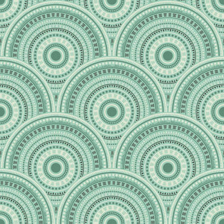Mexican mandala circles tile design vector seamless pattern. Tribal motifs bohemian repeating geometry. Native indian ethnic circle mandala elements seamless geometric pattern. Ilustração