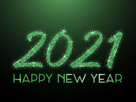 Emerald green 2021 Happy New Year vector greeting card. Confetti particles calligraphic font. Happy New Year wishes, 2021 of confetti elements. Premium banner. Ilustracje wektorowe