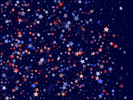 American Memorial Day stars background. Confetti in USA flag colors for Independence Day. Vivid red blue white stars on dark American patriotic vector. Fourth of July stardust scatter.