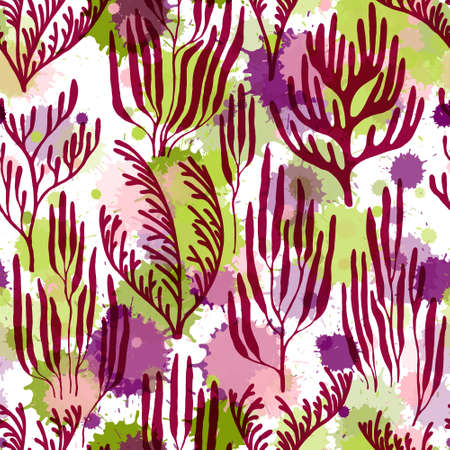 Ocean corals seamless pattern. Paint splashes drops watercolor background. Underwater plants textile print vector design. Abstract Great Barrier Reef corals background. Natural summer pattern. Vettoriali