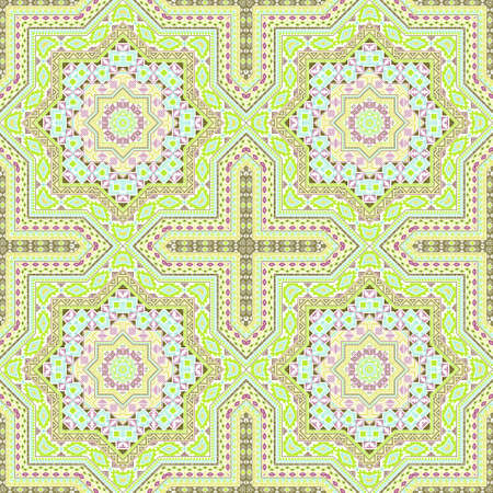 Flat moroccan zellige tile seamless ornament. Ethnic structure vector swatch. Clothes print design. Stylized moroccan zellige tilework recurrent pattern. Interior decor template.
