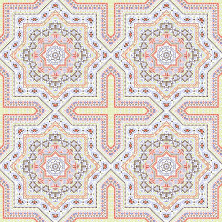 Simple italian maiolica tile seamless pattern. Geometric texture vector motif. Carpet print design. Stylized italian mayolica tilework iterative pattern. Geometric shapes wallpaper.