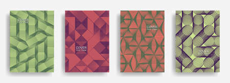 Tech halftone shapes minimal geometric cover templates set graphic design. Halftone lines grid vector background of triangle, hexagon, rhombus, circle shapes. Business geometric cover backgrounds.