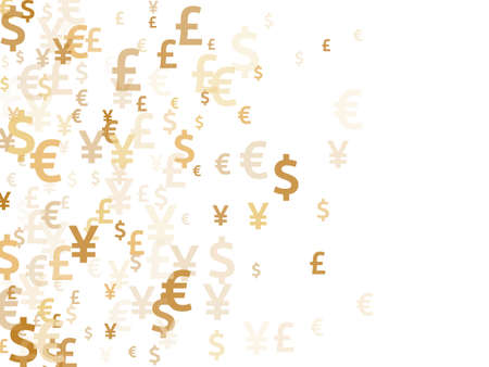 Euro dollar pound yen gold signs flying currency illustration. Deposit backdrop. Currency icons british, japanese, european, american money exchange signs background.