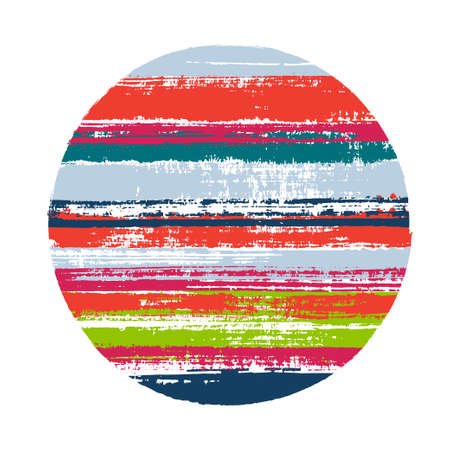 Modern circle vector geometric shape with stripes texture of ink horizontal lines. Disk banner with old paint texture. Emblem round shape circle logo element with grunge stripes background.