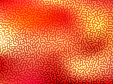 Reaction-diffusion or turing pattern formation. Generative algorithm psychedelic background. Organic lines in memphis style. Distorted texture of homogeneous. Animal skin red coloration print.