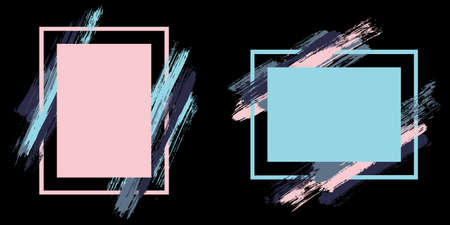 Artistic frames with paint brush strokes vector set. Box borders with painted brushstrokes on black. Educational graphics design empty frame templates for banners, flyers, posters, cards.