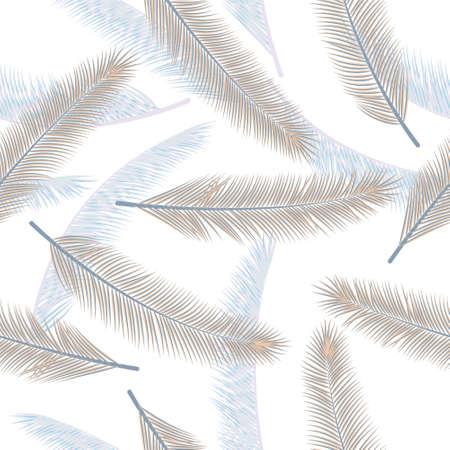 Organic palm leaves vector ornament. Decorative textile print. Tropical jungle palm leaves wallpaper seamless ornament.