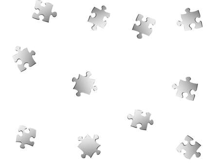 Business tickler jigsaw puzzle metallic silver parts vector illustration. Scatter of puzzle pieces isolated on white. Success abstract concept. Jigsaw gradient plugins.