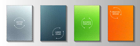 Minimal point perforated halftone cover templates vector set. Medical notebook faded halftone backgrounds. Vintage comics style cover page layouts. Gradient design.