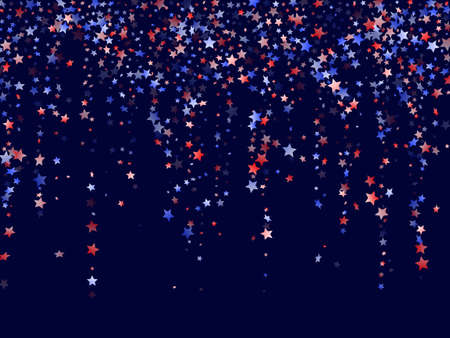 American Patriot Day stars background. Holiday confetti in US flag colors for Patriot Day.  Navy red blue white stars on dark American patriotic vector. July 4th stardust confetti. Ilustração