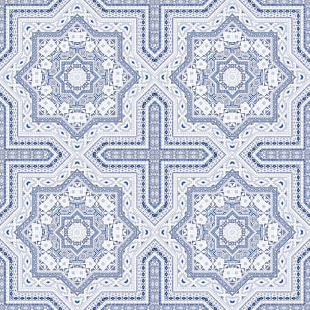 Modern moroccan zellige tile seamless rapport. Geometric texture vector patchwork. Tapis print design. Stylish moroccan zellige tilework endless pattern. Interior decor template.