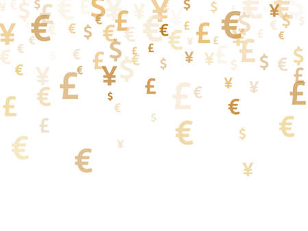 Euro dollar pound yen gold symbols scatter money vector design. Trading pattern. Currency pictograms british, japanese, european, american money exchange elements background.