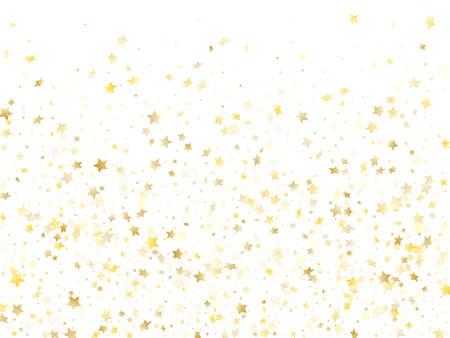 Flying gold star sparkle vector with white background. Chic gold gradient christmas sparkles glitter geometric star pattern. Christmas confetti glitter decoration.