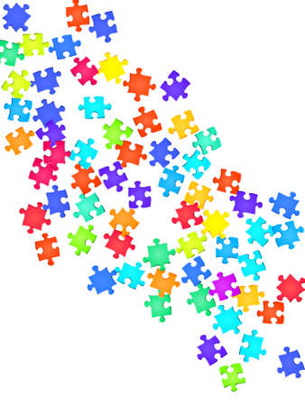 Business crux jigsaw puzzle rainbow colors parts vector illustration. Group of puzzle pieces isolated on white. Challenge abstract concept. Connection elements. Ilustração