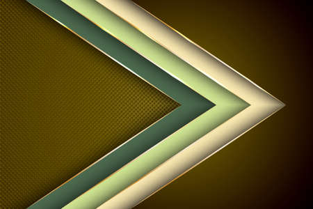 Polygonal arrow with gold triangle edge lines banner vector design. Premium banner background template. Cool geometric graphic concept. Gradient facets shapes, stripes gold edges lines vector.