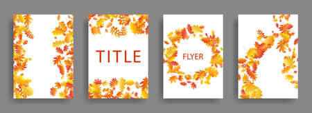 Dry autumn leaves flying card backgrounds or covers vector set. Yellow orange red bright autumn leaves organic backdrops. Falling dry foliage brochure covers, card backgrounds graphic design.