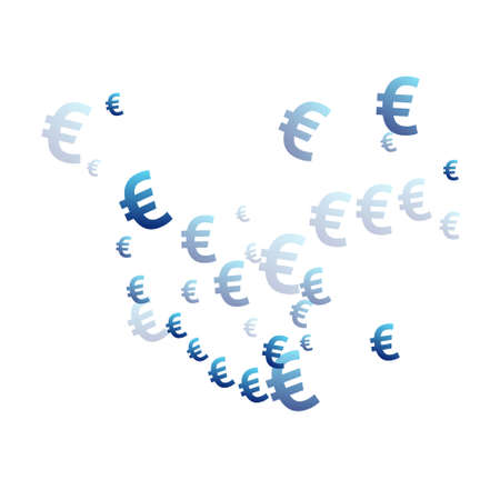 Euro blue symbols flying money vector design. Jackpot backdrop. Currency sign euro money fling signs background.