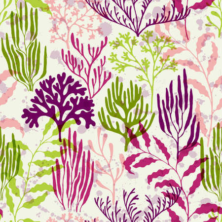 Coral polyps seamless pattern. Kelp laminaria seaweed algae background. Abstract Great Barrier Reef corals background. Natural summer pattern. Underwater plants textile print vector design. Vettoriali