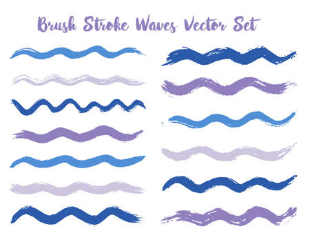 Messy brush stroke waves vector set. Hand drawn blue violet brushstrokes, ink splashes, watercolor splats, hand painted curls. Interior colors scheme swatches. Textured waves, stripes design. Ilustração