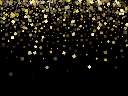 Trendy gold confetti sequins sparkles flying on black. VIP Christmas vector sequins background. Gold foil confetti party explosion space. Many pieces party background.