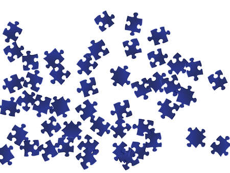 Abstract brainteaser jigsaw puzzle dark blue pieces vector background. Group of puzzle pieces isolated on white. Challenge abstract concept. Jigsaw match elements.