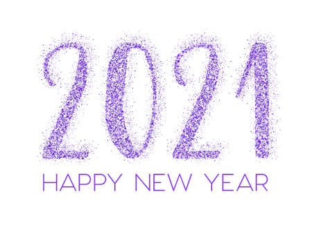 2021 Happy New Year vector greeting card. Confetti particles number lettering. Happy New Year wishes, 2021 of confetti elements. Luxurious banner.