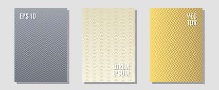 Geometric design templates for banners, covers. Technological formers. Zigzag halftone lines wave stripes backdrops. Corporate catalogs. Halftone brochure lines geometric design set.