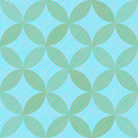 Interlacing circles parts retro seamless vector pattern. Guatrefoil flower blue tessellation endless ornament. Circle elements repeating fabric print. Geometric mosaic motifs.