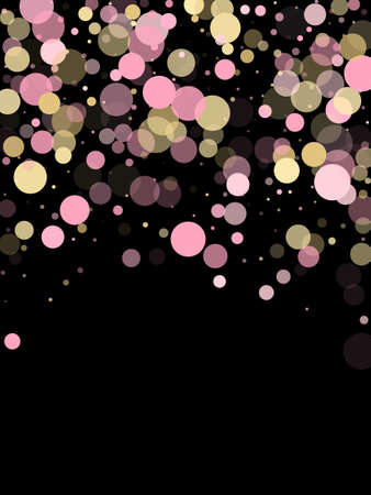 Pink gold confetti circle decoration for Christmas poster background. Bokeh lights effect vector. Gold, pink and rose color round confetti dots, circles scatter on black. Elegant bokeh background.
