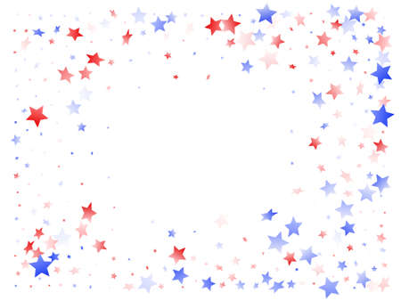 American Patriot Day stars background. Confetti in US flag colors for Independence Day. Vivid red blue white stars on white American patriotic vector. 4th of July stardust scatter. Ilustração