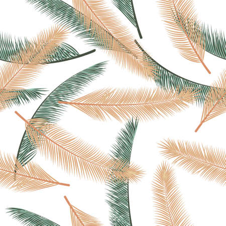 Summer palm tree foliage vector seamless ornament. Boho graphic design. Exotic rainforest palm tree foliage textile print pattern. 矢量图像