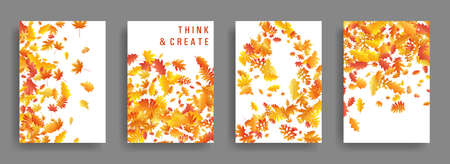Yellow orange red dry autumn leaves flying organic backdrops. Falling dry foliage brochure covers, card backgrounds graphic design. Autumn leaves falling card backgrounds or covers vector set.