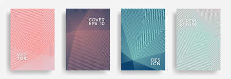 Hexagonal halftone pattern cover pages vector geometric design. Polygonal lines texture backgrounds. Annual report templates set. Cover page layouts, flyers, banners with halfton patterns.