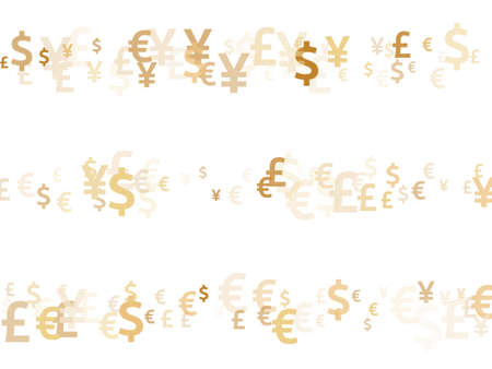 Euro dollar pound yen gold symbols flying currency vector design. Deposit pattern. Currency tokens british, japanese, european, american money exchange signs graphic design. Ilustração