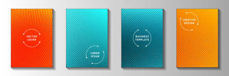 Random point faded screen tone front page templates vector series. Scientific catalog perforated screen tone backdrops. Retro cartoon comics style cover page layouts. Gradient design.