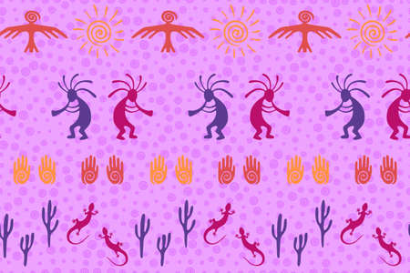 Authentic australian fashion vector ethnic tribal motifs seamless pattern. Traditional design with humpbacked man playing flute musical instrument. Australian desert wildlife pattern.