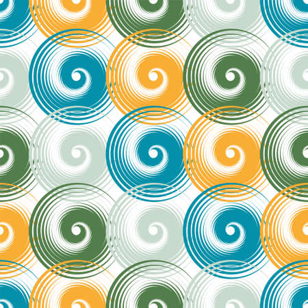 Spiral swirls doodle seamless pattern vector design. Round spiral scrolls, circle swirls geometric elements, curly vortex tiles. Cute swirl scrolls abstract background seamless pattern. Ilustracja