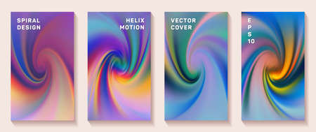 Fluid gradient spiral scroll cover page templates  set. Modern brochure front pages collection. Flyer backgrounds with fluid colors dynamic helix patterns. Snail twirl tech booklet covers.