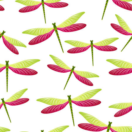 Dragonfly charming seamless pattern. Spring clothes textile print with darning-needle insects. Isolated water dragonfly ornament. Wildlife organisms seamless. Damselflies with wings.