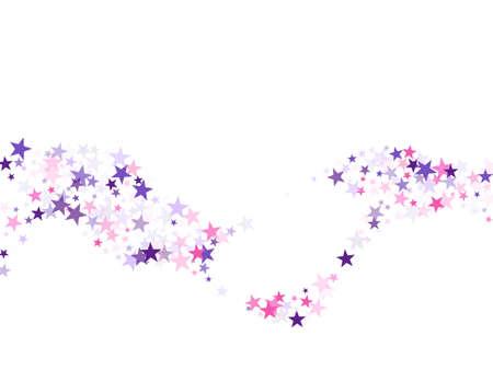 Flying stars confetti holiday in pink violet purple on white. Twinkle starburst astral wallpaper. Cool flying stars scatter background. Fireworks sparkles festival symbols.