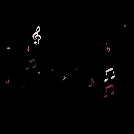 Pink flying musical notes isolated on black backdrop. Magenta musical notation symphony signs, notes for sound and tune music.